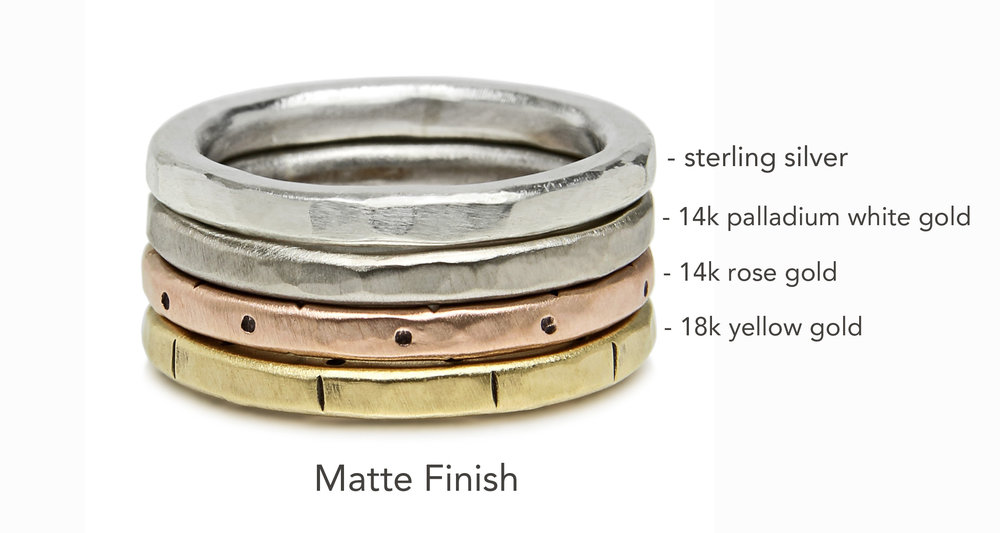 Hammered Wedding Band 14k Rose Gold Unisex Matte Finish Jodi