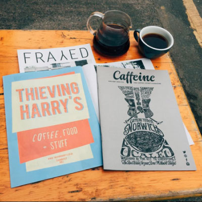 THIEVING HARRY'S / HULL Speciality coffee and a great food menu, located in a converted warehouse in Hull's former fruit market overlooking the city's marina