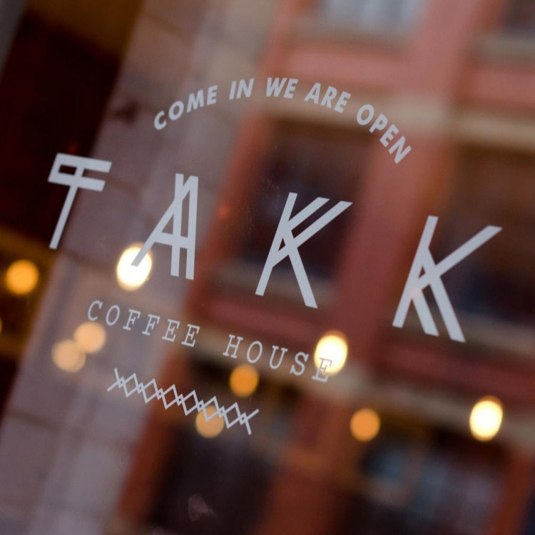 TAKK / MANCHESTER Icelandic inspired coffee shop in the city's Northern Quarter, serving speciality coffee from European roasters in a space that combines neighbourhood hangout with cosy Nordic living room