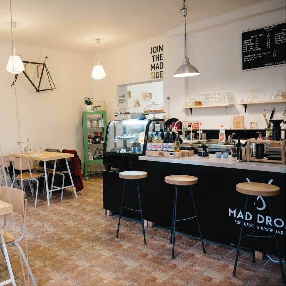 MAD DROP / BRATISLAVA One of the top third wave coffee shops in Slovakia, with minimalist Scandinavian design, a cycle repair workshop and a great range of coffees from European microroasters
