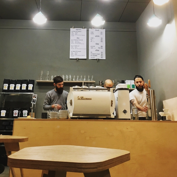 KONTAKT / BUDAPEST Multi-roaster coffee shop in Budapest offering a careful selection of speciality coffees on espresso, hand-brewed filter and their own draught nitro cold brew from a minimal, design-focused space