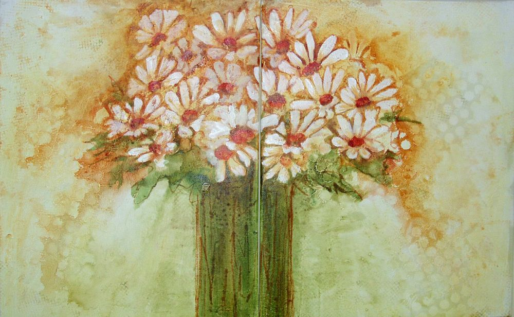 Impressionistic Daisy Floral Diptych