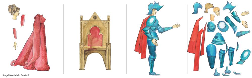 Las ilustraciones se pintaron en acuarela y se escanearon. Se recortaron por capas y se montaron digitalmente para su posterior animación.