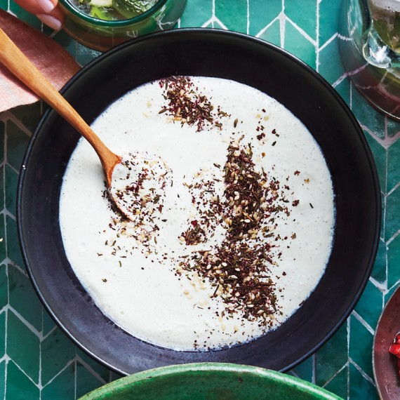 Za'atar and cucumber yogurt.