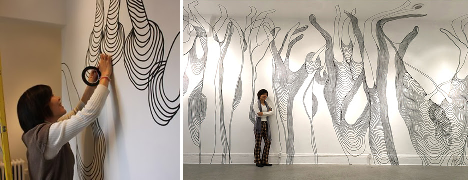 Artist Inyoung Seoung creates a mural installation with electrical-tape.  For He•li•o•trop•ic, Seoung will create a forest of undulating organic forms and fantastical flora.