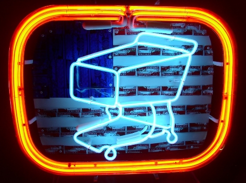 Shawna Peterson,   Shopping, neon, Budweiser cans