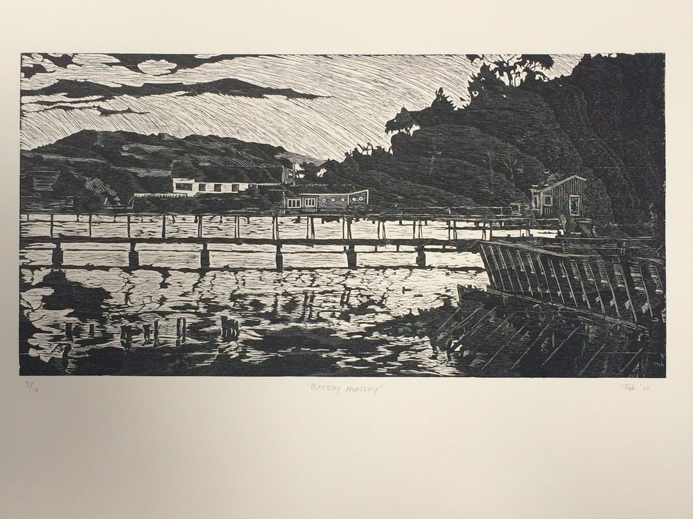"Batray Nursery by Inverness artist Grayson Kent | Wood block print, 19"" x 28"""