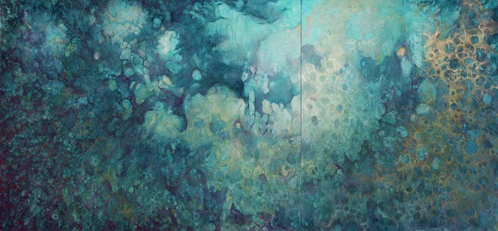 "Nostro Mari by Inverness artist Johanna Baruch | Oil on wood panel, 40"" x 86"""