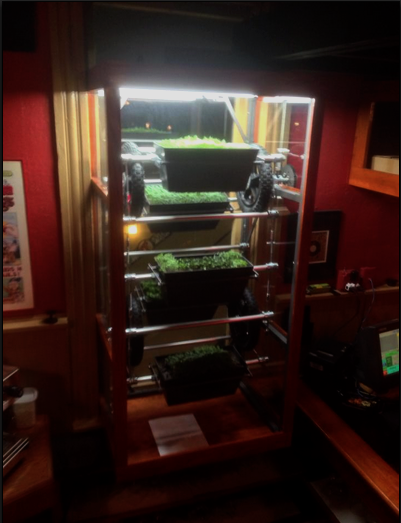 - This custom miniature vertical farm rotates incrementally in the window of the Spats Cafe Bar and Restaurant, providing an interesting element of motion with an exposed-gear, steampunk design. The vertical farm grows micro herbs in removable planters that can be taken to the adjacent bar, providing fresh-cut ingredients for specialty and seasonal cocktails. The wooden frame around the plexiglass-enclosed vertical farm blends with the existing aesthetic of the restaurant's speakeasy decor.