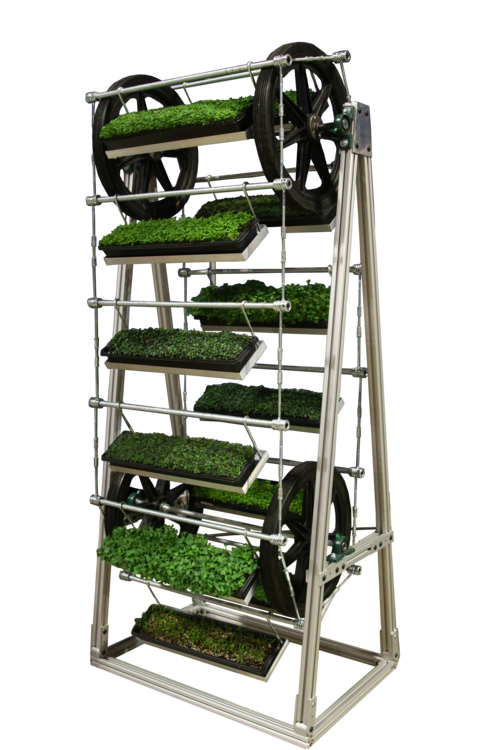 - The GreenTower is designed to help you grow the smart way: plants stack vertically to maximize growth in your precious space, doubling or tripling your yields-per-square foot (research credit: The Pennsylvania State University, College of Agricultural Sciences). By rotating incrementally throughout the day, the GreenTower ensures that all plants receive even lighting exposure, without the necessity of artificial lighting.