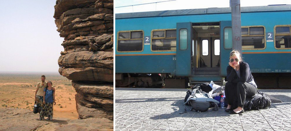In Dogon Country in Mali (hence the crazy wax print patterns), and at the train station in Rabat, Morocco.