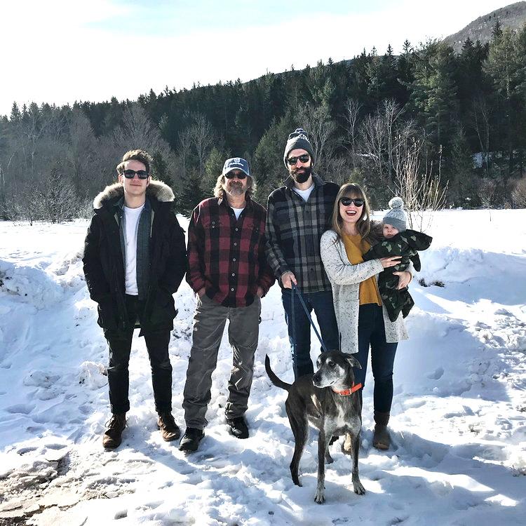 The whole team! From left to right: Brett our Managing Innkeeper, Gary our Grounds Manager, Steven co-owner, me (duh), and of course Amina the baby and Waldo the dog who are both super cute but not exactly  useful  at the Inn...