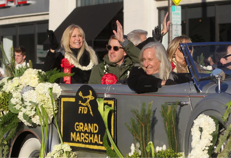 Louis Zamperini's family acts as the Grand Marshall of the 2015 Rose Parade. L-R: Cynthia Zamperini-Garris, Clay Zamperini, Luke Zamperini, Mick Garris, Lisa Zamperini