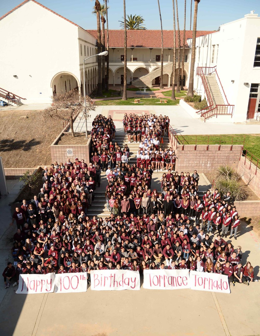 Torrance High School students celebrate the 100th Birthday of the Torrance Tornado.