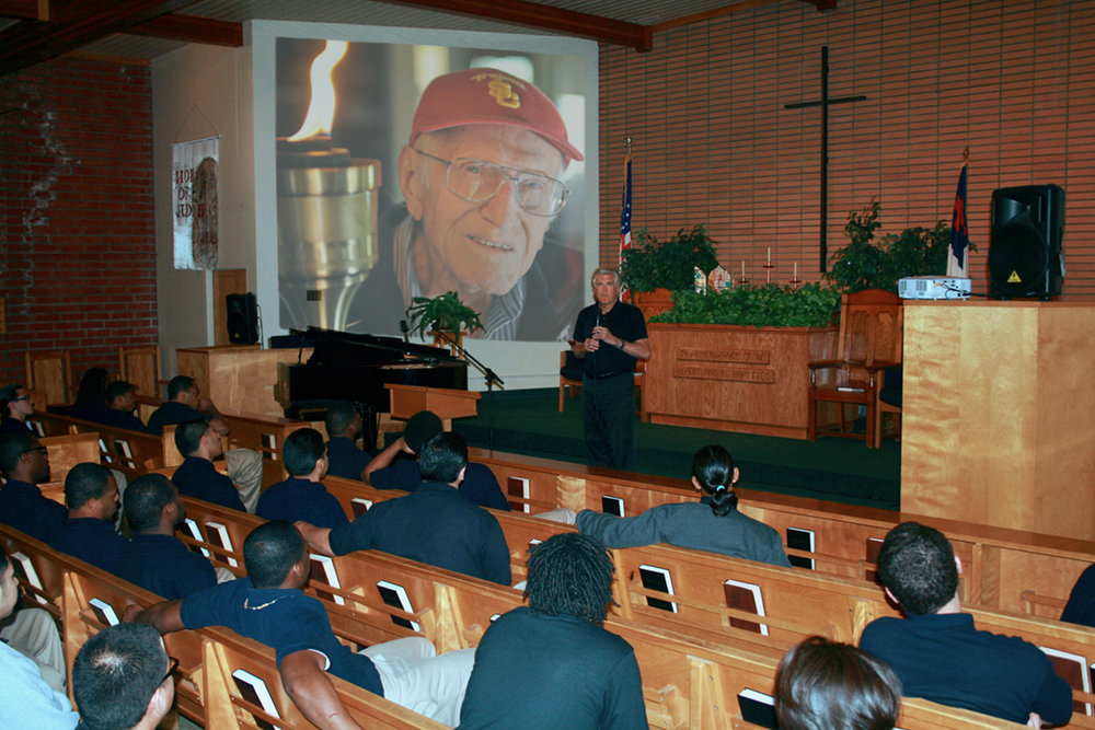 - Luke Zamperini sharing with inmates at Ventura County Youth Correctional Facility.