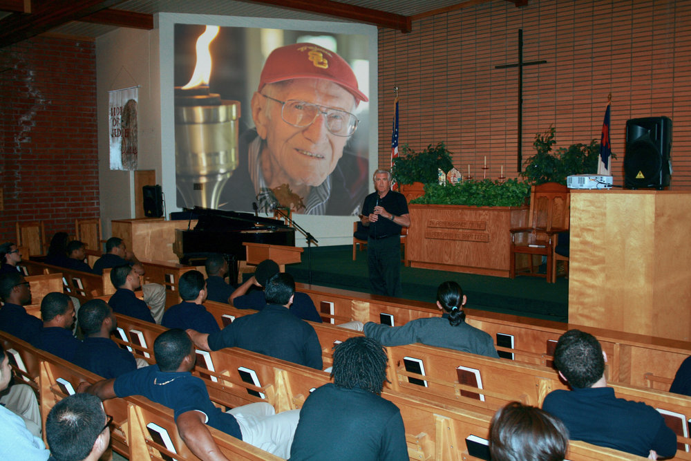 Luke Zamperini addressing a group of at-risk youth at Ventura County Correctional Facility. Ventura County, CA