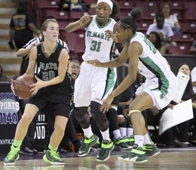 Mats Junior Guard Sabrina Lonescu draws the double team in the Mats NorCal Final with St. Mary's