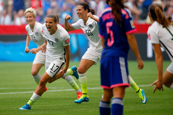 Tobin Heath celebrates her second half goal in the U.S.A's World Cup Final victory. (photo by Kevin C. Cox)