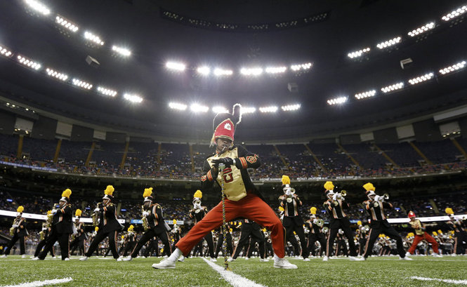 The world famous Grambling State University Marching Band performs at the Bayou Classic. Grambling will visit Berkeley this weekend. (photo by Chris Granger)