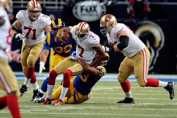 Once a symbol of San Francisco's bright future, Colin Kaepernick has now been benched in favor of Blaine Gabbert. (Photo by Michael B. Thomas)