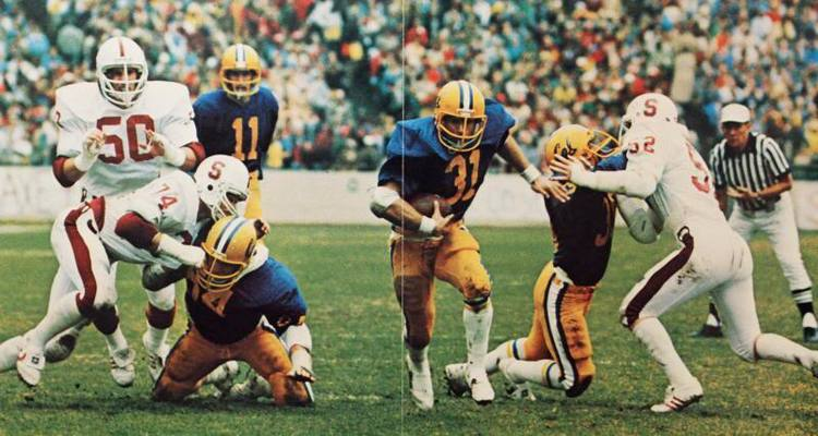 """J TORCHIO (#11)  BEAT JOHN ELWAY IN THE 1980 BIG GAME.  JOHN TUGGLE (#31)  WAS THE SUBJECT OF ESPN'S 30FOR30 """"THE IRRELEVANT GIANT."""" (PHOTO COURTESY OF STEVE OLDENBOURG)"""