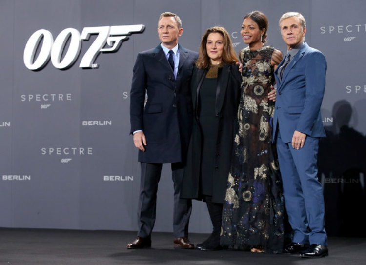 (L-R_ Daniel Craig, producer Barbara Broccoli, actress Naomie Harris and actor Christopher Waltz. (photo by Sean Gallup)