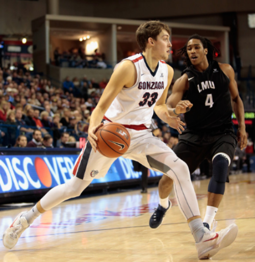 Gonzaga's Kyle Wiltjer presents an inside-outside threat on offense for the Zags. (Photo by William Mancebo)