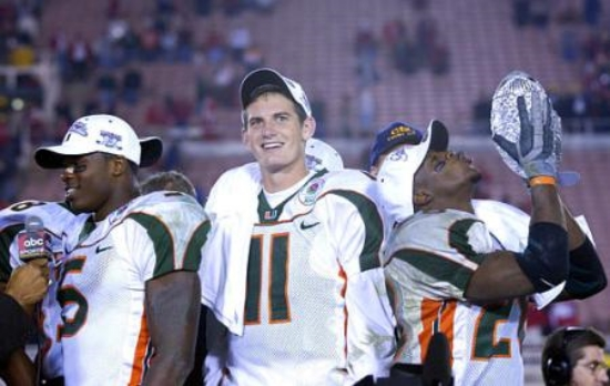 Dorsey on the winners' stage after winning the BCS National Title with the 'CAnes
