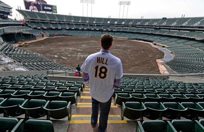 A's hurler Rich Hill ponders his future in Oakland... (photo by Jose Carlos Fajardo)