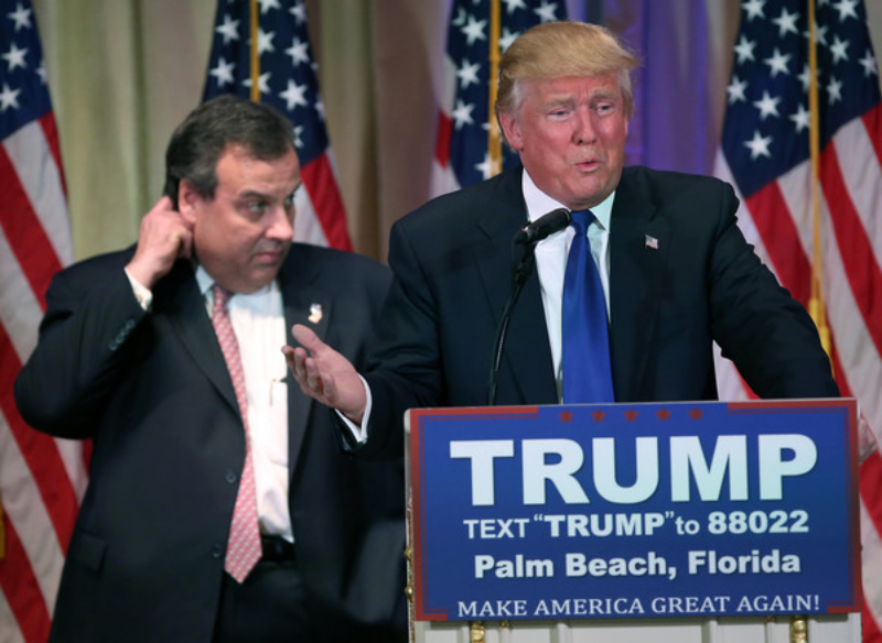 TRUMP FLANKED BY CHRIS CHRISTIE ON MARCH 1ST AT THE MAR A LAGO CLUB IN PALM BEACH (PHOTO BY JOHN MOORE)