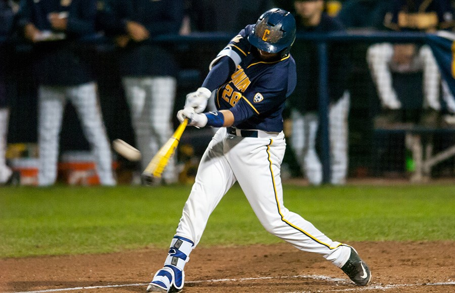 Sophomore catcher Brett Cumberland is leading the pac in round trippers. (photo by Phillip Downey/DailyCal.org)