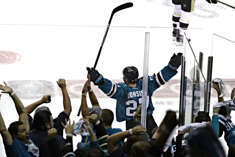 Joonas Donskoi celebrates his top-shelf game winnning goal on Saturday night. (photo by Bruce Bennett)