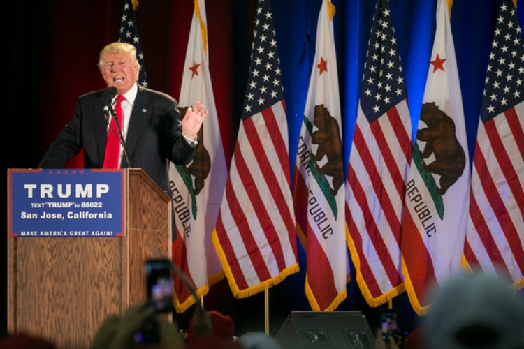Donald addresses his supporters in San Jose. (Photo by Elijah Nouvelage)