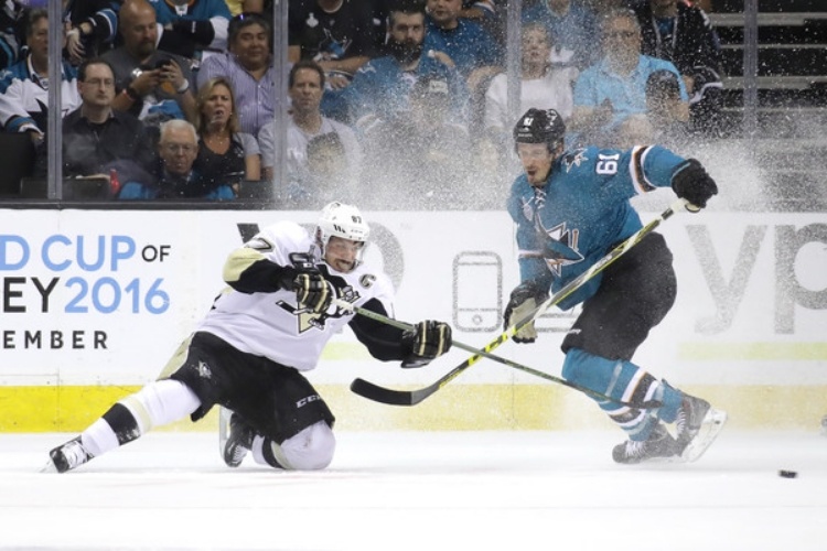 San Jose's season is on the brink as they head back to Pittsburgh for Game 5. (photo by Bruce Bennett)