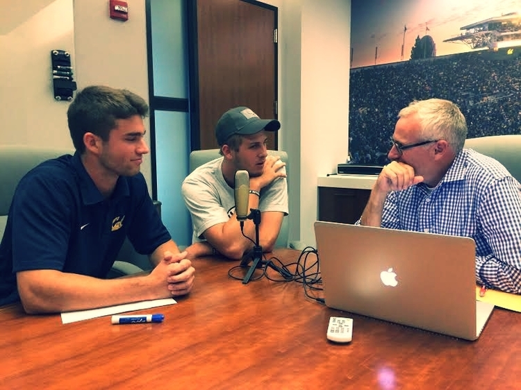 Tripper (right) sits down to interview Jared Goff and Griffin Piatt in 2015
