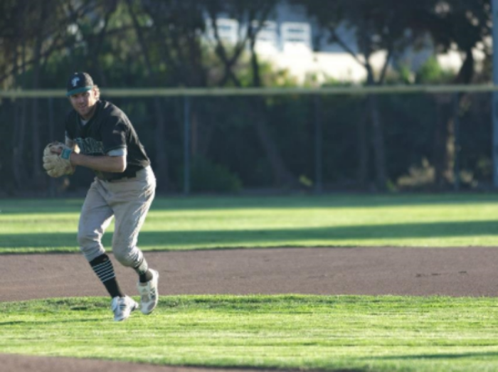 """Connor playing in the SFNABA at San Leandro Ballpark. A league created by """"The Godfather,"""" Ken Hale."""