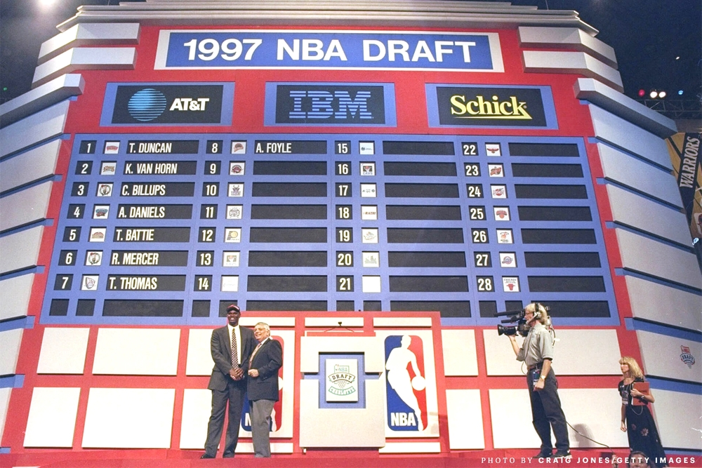"""With the 8th pick of the 1997 NBA Draft, the Golden State Warriors select Adonal Foyle from Colgate University."" (photo by Craig Jones)"