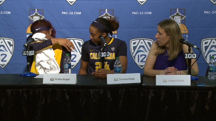 Anigwe fights her emotions following the end of the PAC-12 Tournament in Seattle in 2016 (photo courtesy of Pac-12.com)