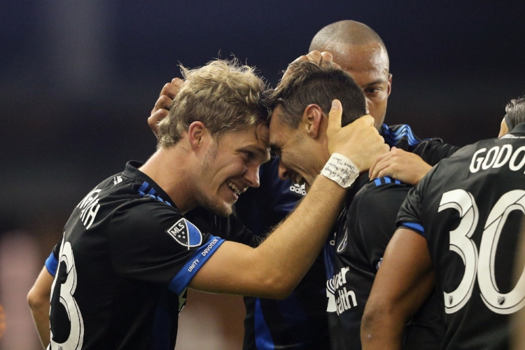 Florian celebrates with the face of the Quakes franchise, Chris Wondolowski. (photo courtesy of SJearthquakes.com)
