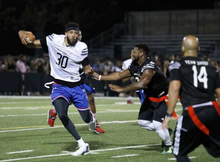 JaVale McGee participates in the 5th annual Athletes vs Cancer Celebrity Flag Football Game on August 12, 2018 in Los Angeles