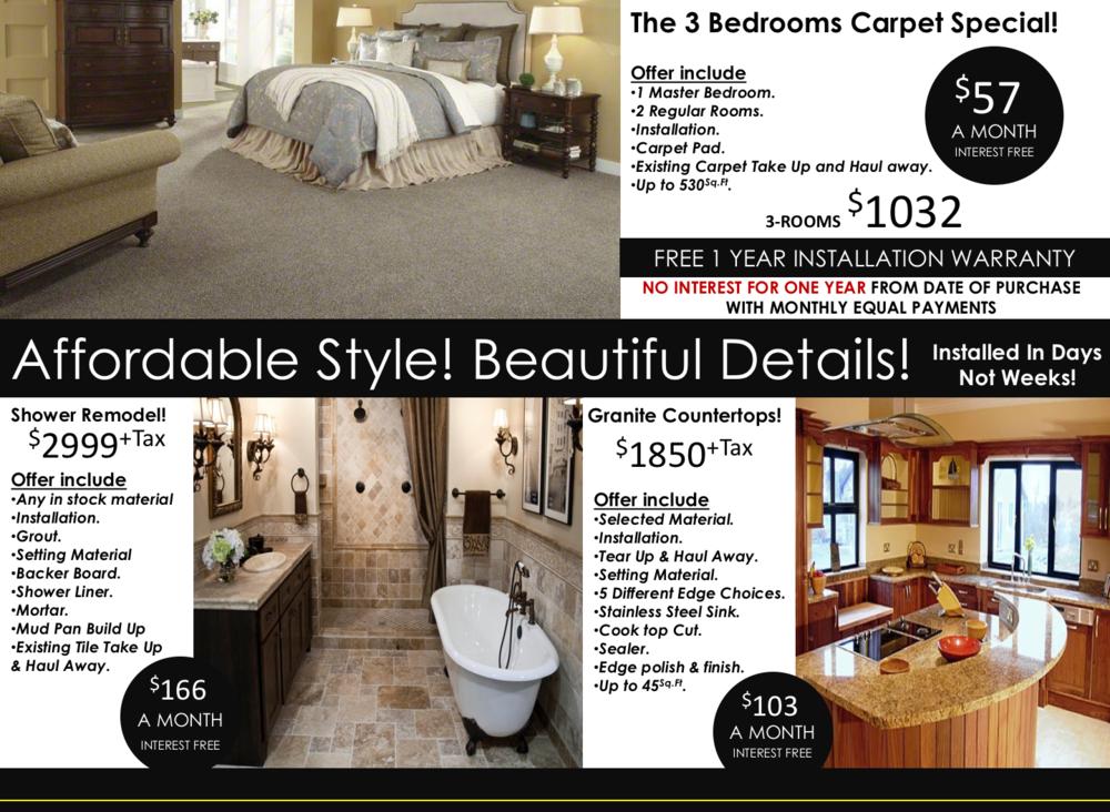carpet and granite specials