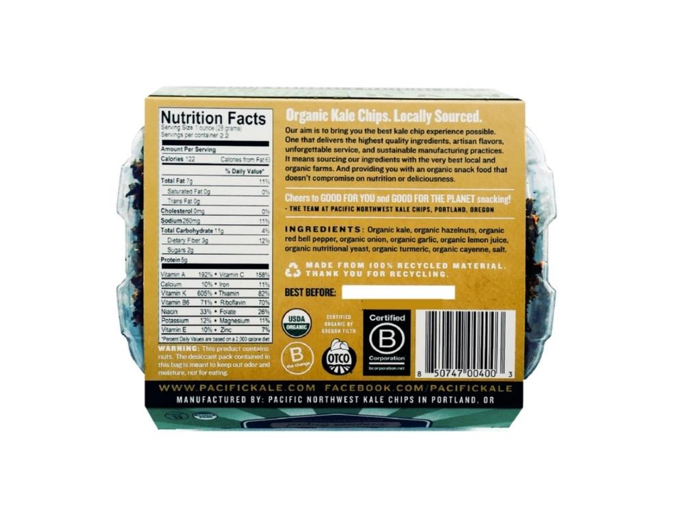 STUMPTOWN ORIGINAL Ingredients:Organic kale, organic hazelnuts, organic red bell pepper, organic onion, organic garlic, organic lemon juice, organic nutritional yeast, organic turmeric, organic cayenne, sea salt. Allergen Information:Contains tree nuts.