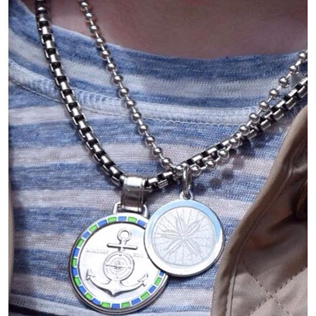 Looking for a gift with meaning?  The Colby Davis Collection is just perfect 💙 The front of each medallion is coated in luminous enamel and the back is engraved with a special message.  They are designed to layer and have fun with.  Stop in and see the collection! #BeHappyShopMaertens #TisTheSeasonToBuyJewelry #ShopLocal #ColbyDavis #ColbyDavisOfBoston #EnamelJewelry #BeeJewelry #AnchorJewelry