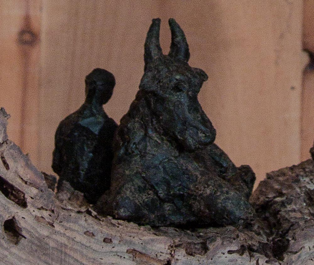 Sitting with Ox, wax: Sculpture, LH