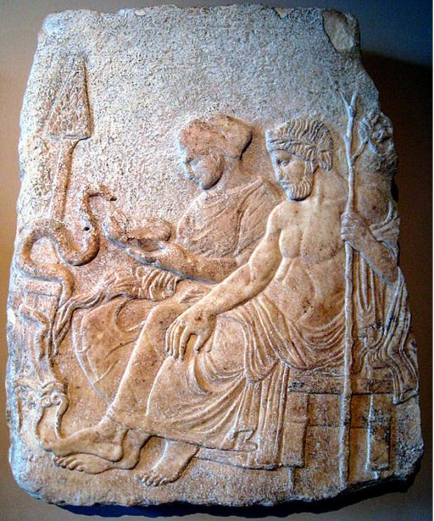 Asclepius and his daughter Hygieia, goddess of health.