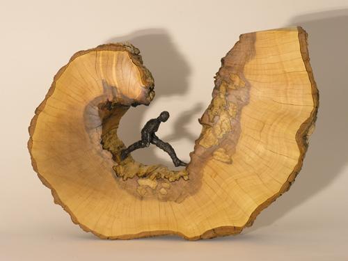 Runaway,wood and bronze figure, LH