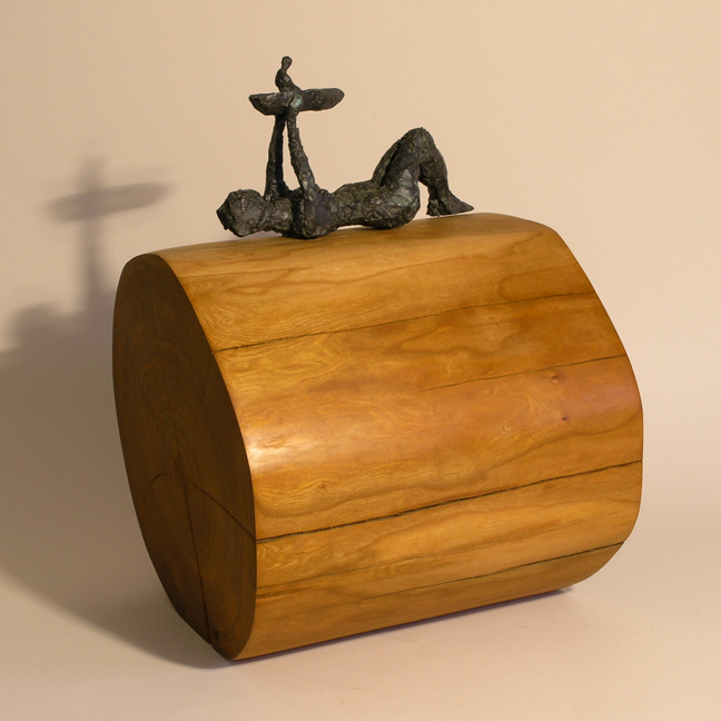 Woman Launching Boat , bronze sculpture, cherry wood, LH