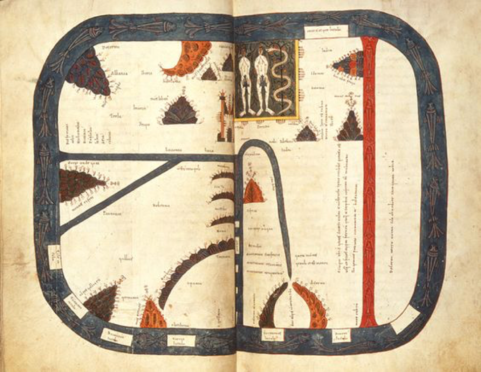 Beatus Map, locating Garden of Eden (1109)