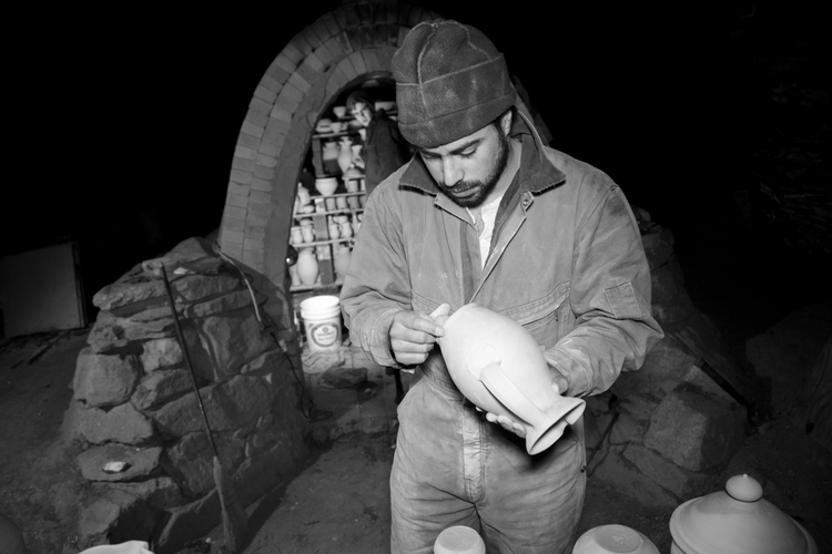Alex in the Kiln, Photo: Nick Matisse (his brother)