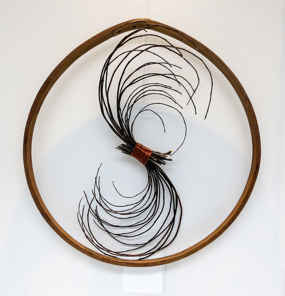 Branch Spiral  , Barrel Stay, Apple Prunings, Copper Wire, Ariel Matisse